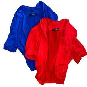 PATTY BOUTIK Red and Blue Crop Cardigans Small